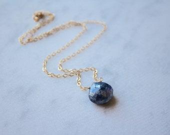 Blue Labradorite Stone Teardrop Necklace-Gold