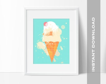 Ice Cream Cone Nursery Wall Art, Ice Cream Art Print, 8x10 Digital File, Instant Download