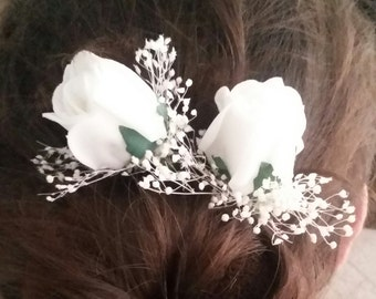 Artificial Ivory Rosebud and Gypsohilia Silk hair flowers, Loose hair flowers, Real Touch flowers, silk wedding flowers