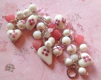 Breast Cancer Awareness Bracelet, Pink Ribbon Bracelet, Pink Ribbon, Lampwork Bracelet, Glass Bracelet, Pink Ribbon Lampwork Bracelet