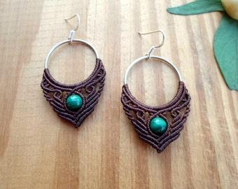 Malachite macrame earrings, macrame jewelry, hoop earrings, micro macrame, gypsy earrings, macrame hoops, tribal earrings, malachite jewelry