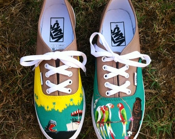 Disney Inspired Custom Painted Vans Shoes Jungle Cruise Enchanted Tiki Room Adventureland
