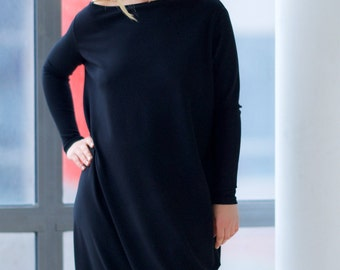 Women Black Dress, Black Maxi Dress, Plus Size Long Dress, Oversized Dress, Midi Dress, Loose Dress, Minimalist Dress, Maternity Clothing