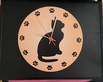 Black cat wall clock.  Black wall clock modern wall clock, unique wall clock, Housewares, Retro wall clock