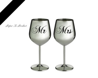 Wine Glass MR & Mrs Engraved Personalized Stainless Steel  (Set of 2) Wedding Gift Bride Groom