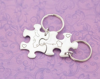 Long Distance Friendship - Long Distance Relationship - Keychain Set - Any State - Engraved Jewelry - Custom Engraving - Deployment