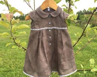 Baby girl linen dress grey, summer dress, grey linen dress with buttons, babygirl summer dress, Peter Pan collar