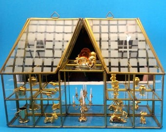 Brass and Glass Curio Display Case and 10 Trinkets