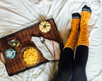 Mac and Cheese Foodie Unisex Adult Crew Funny Food Crazy Macaroni and Cheese Socks