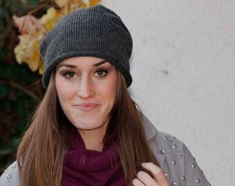 knit beanie hat anthracite,  womens  winter beanie hat, mens knit slouchy beanie cap, BREEZY by zauberhanddesign