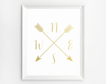 Compass Print, Gold Foil Print, Cardinal Directions,Wall Art, Cardinal Directions Wall Art Prints, Arrow Art, NWES Prints, Gold wall Art