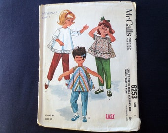 1962 Toddler Flared Top & Pants Vintage Pattern, McCalls 6253, Designed by Helen Lee, Size 1, Breast 20