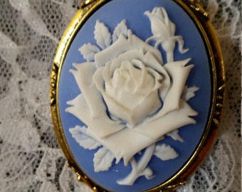 Blue and White Rose Cameo Brooch Resin Cameo