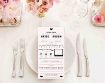 Printable Bride & Groom Notes - MadLib - AdLib Notes - DIY Wedding - Wedding Party Favors - Mad Libs - Printable Wedding - Wedding Printable