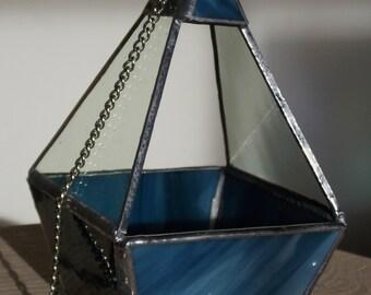 Geometric Terrarium Hanging Glass Planter Blue & Cream Wispy Glass Base Succulents Air Plants Cacti Fairy Garden Hang or Stand