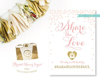 Bridal Shower Hashtag Sign . Share the Love Pink and Gold . Social Media Instagram Twitter Facebook Printable . Digital Download Hashtag