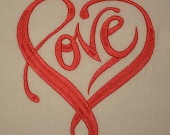 Love Heart Embroidered Flour Sack Towels. Set of 2.