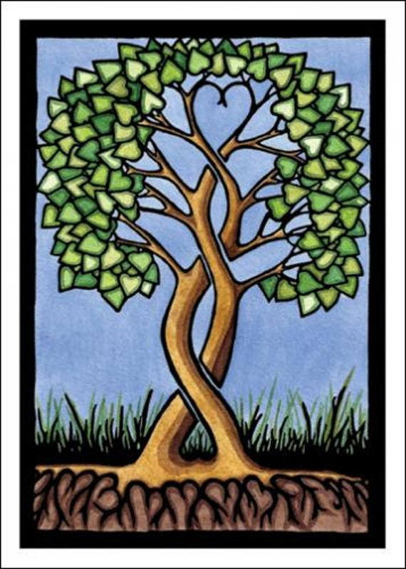 Together Forever - Single Blank Sarah Angst Greeting Card - Lots of Love, Hearts Tangled in a Tree