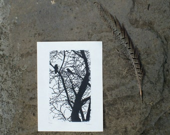 Birds in Apple Tree black & white miniprint - linocut A6