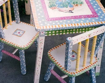 hand painted peter rabbit table & chair set, kids furniture
