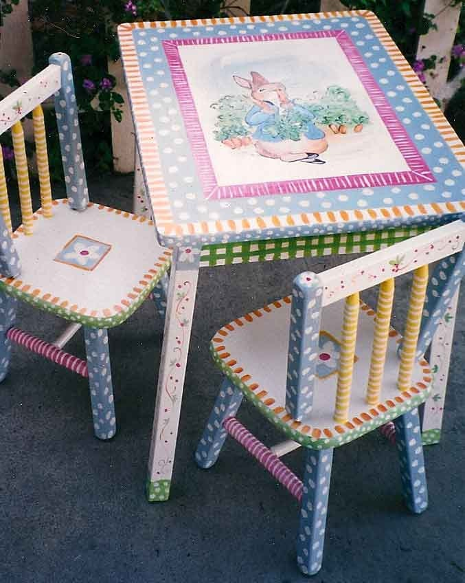 Hand Painted Peter Rabbit Table Amp Chair Set Kids Furniture