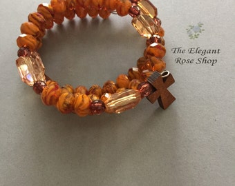 Rosary Wrap Bracelet in Beautiful Orange Tones