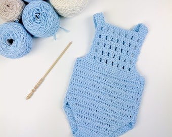 CROCHET PATTERN - Crochet Baby Romper Blue Orchid /Onesie /Playsuit - Babay Overall - PDF