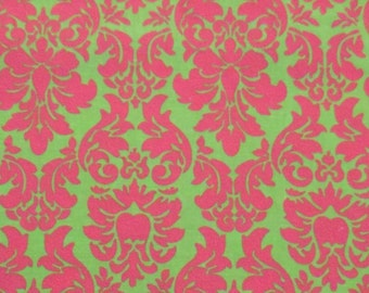Pink and Green Damask Cotton Fabric