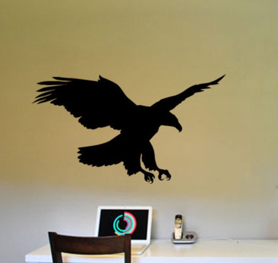 Eagle wall decal soaring bald eagle bird decor sticker office for Eagle wall mural