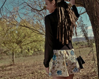 SALES 10% OFF, romantic mini skirt, blue flowers print with lace, woman fashion, short skirt, elastic waistband, Barcelona, vintage print