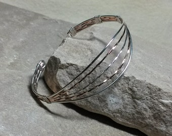 Sterling Silver Cuff Bracelet, Sterling and Rose Gold Cuff Bracelet, Wire Wrapped Bracelet, Sterling and Gold Bracelet