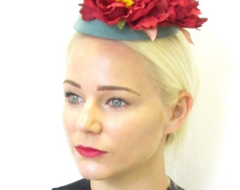 Teal Green Red Peony Flower Pillbox Hat Fascinator Vintage Rockabilly 1950s 576