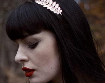 Gold Laurel Leaf Headdress Grecian Roman Headband Vintage Hair Crown Flapper Athena Greek Goddess Dress Olive Woodland Wedding T48
