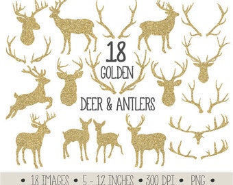 Deer Clipart. Antler Clip Art. Gold Glitter Digital Deer & Anler Silhouettes. Christmas Reindeer Scrapbook Clipart. Gold Christmas Images.