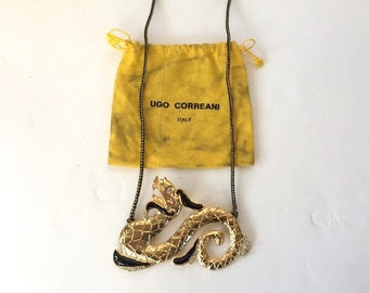 70/80s Ugo Correani Dragon Enamelled Brass Necklace