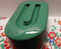 Vintage Hall China / Westinghouse  Green REFRIGERATOR Butter CONTAINER Cover & Base Art Decor Great Vintage Condition