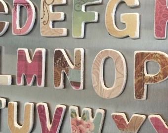 Alphabet magnetic letters; ABC wood magnets; Fridge magnets; Kids gifts; ABC learning; Country Girl shabby chic rustic