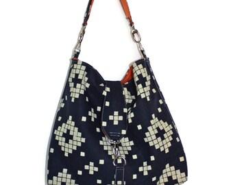 Boho Hobo Bag Purse, Slouchy Purse, Vegan Hobo Bag, Navy Purse, Boho Fabric Bag, Hobo Purse, Gift for Her, Gift Mom, Vegan