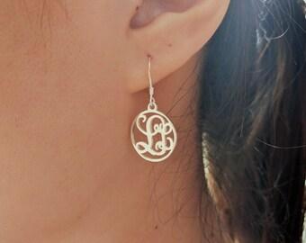 Monogram Earrings For Bridesmaids,Personalized Wedding Drop Earrings,Monogrammed Dangle Earrings,Silver Two Letters Earrings,Initial Earring