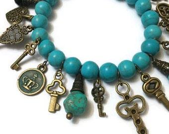 Turquoise Charm Bracelet, Vintage Turquoise Bracelet, Vintage Charm Bracelet, Charm Bracelet, Turquoise Bracelet, Beaded Bracelet, Bracelet