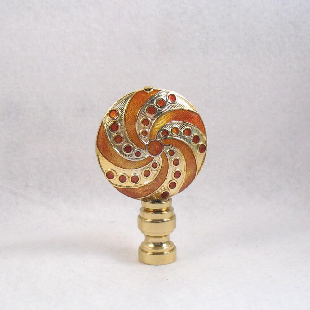Lamp Finial: Gold And Pumpkin Pinwheel Swirl. Cloisonne Swirl