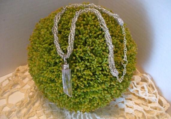 Raw Crystal Necklace, Pendant Necklace, Crystal Necklace, Beaded Necklace, Re-Purposed, Natural Raw Crystal Necklace, MarjorieMae
