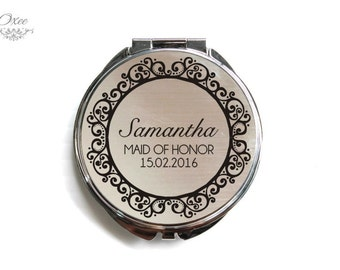 Personalized engraved pocket mirror | compact mirror | wedding gift | bridesmaid gift | maid of honor