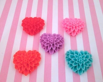 Multicolor Huge Flower Heart Cabochons Mum Hearts
