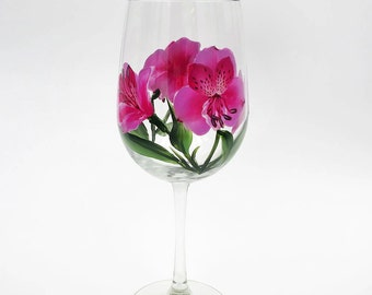 Hand Painted Dark Pink Peruvian Lily Wine Glass Alstroemeria Lilies Stemware