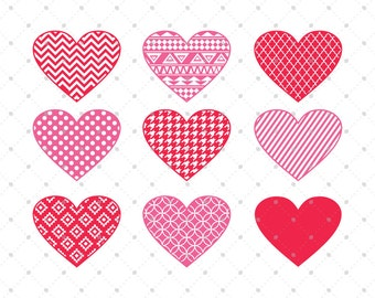Valentines Day SVG, Hearts SVG Cut Files, Patterned Hearts Monogram SVG Cut Files for Cricut, Silhouette and other Vinyl Cutters, svg files