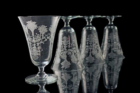 Etched Footed Crystal Water Tumblers, Morgantown Glass Co, Mayfair Pattern, Flower Urns and Scrolls, Iced Tea, Set of 4, Depression Glass