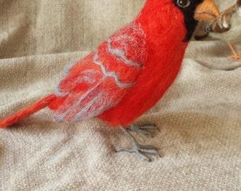 Realistic Needle felt Red Cardinal Bird OOAK The Wishing Shed