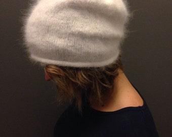 Slouchy hand knit angora hat -FREE SHIPPING