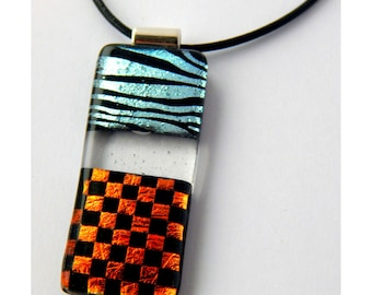 Fused Glass Slide Pendant Dichroic Glass Jewelry Orange Checkerboard Necklace Large Pendant